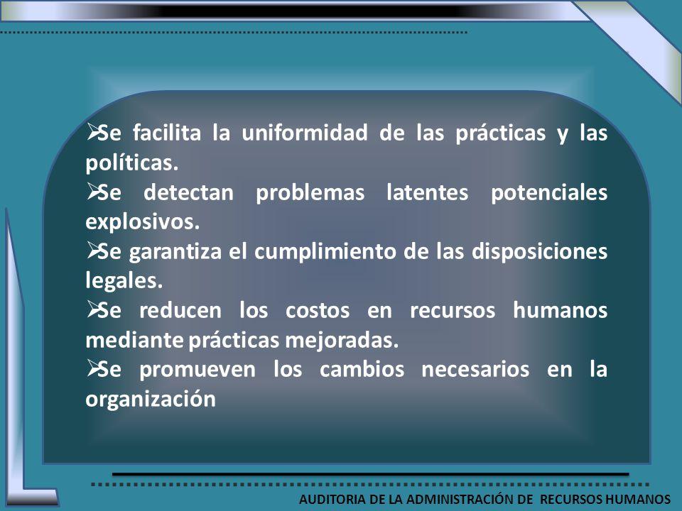 AUDITORIA DE LA ADMINISTRACIÓN DE RECURSOS HUMANOS Se facilita la uniformidad de las prácticas y las políticas. Se detectan problemas latentes potenci