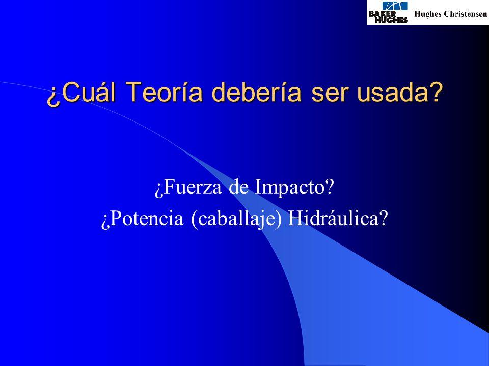 ¿Cuál Teoría debería ser usada? ¿Fuerza de Impacto? ¿Potencia (caballaje) Hidráulica?