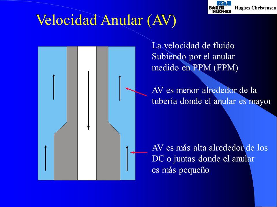 La velocidad de fluido Subiendo por el anular medido en PPM (FPM) AV es menor alrededor de la tubería donde el anular es mayor AV es más alta alrededor de los DC o juntas donde el anular es más pequeño Velocidad Anular (AV)