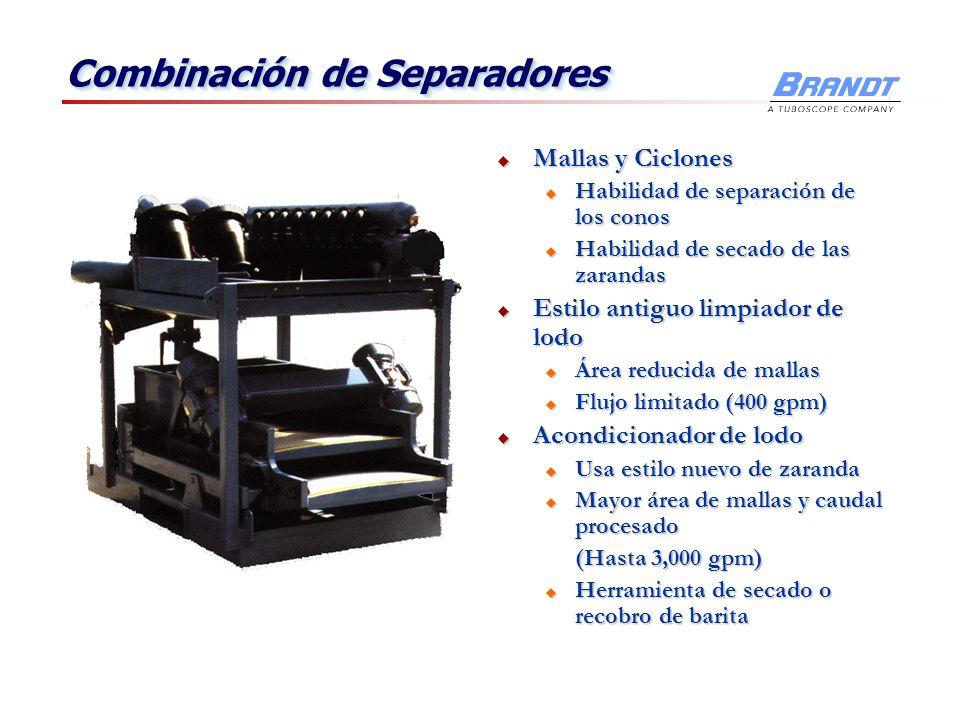 Combinación de Separadores Mallas y Ciclones Mallas y Ciclones u Habilidad de separación de los conos u Habilidad de secado de las zarandas Estilo ant