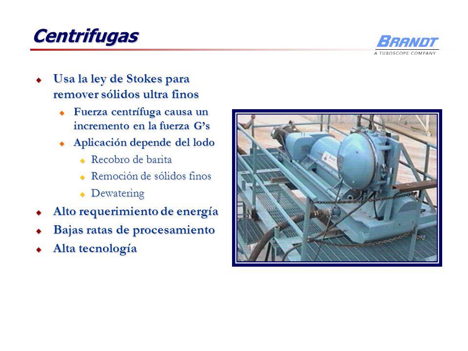 Centrifugas Usa la ley de Stokes para remover sólidos ultra finos Usa la ley de Stokes para remover sólidos ultra finos u Fuerza centrífuga causa un i