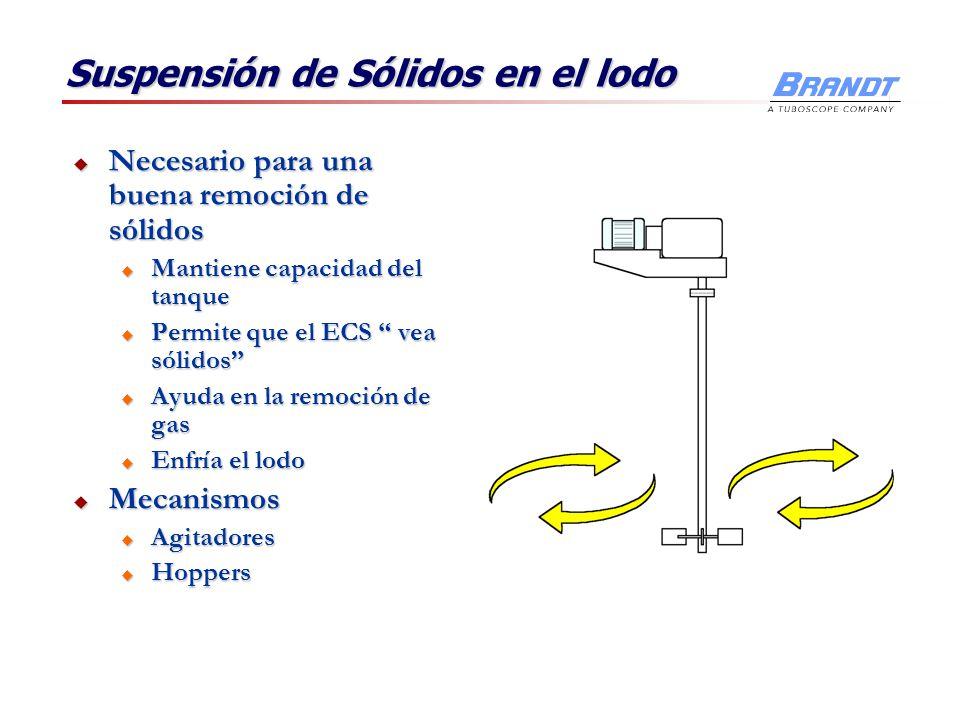 Suspensión de Sólidos en el lodo Necesario para una buena remoción de sólidos Necesario para una buena remoción de sólidos u Mantiene capacidad del ta