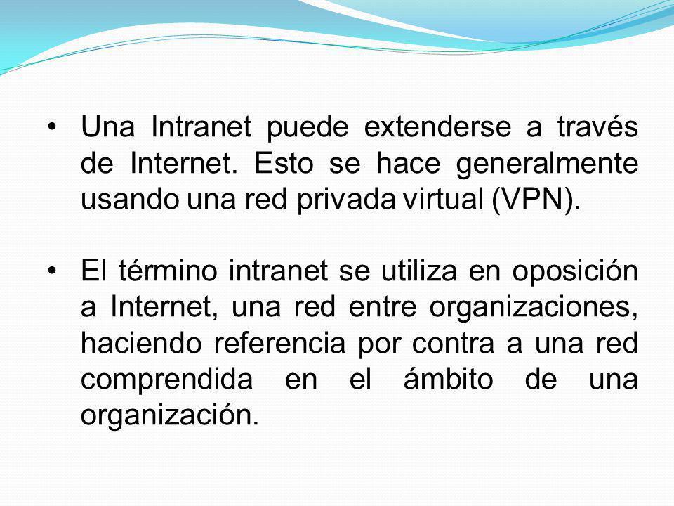Una Intranet puede extenderse a través de Internet. Esto se hace generalmente usando una red privada virtual (VPN). El término intranet se utiliza en