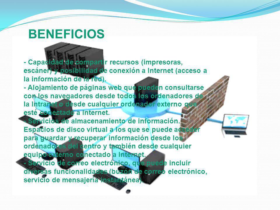 - Capacidad de compartir recursos (impresoras, escáner) y posibilidad de conexión a Internet (acceso a la información de la red). - Alojamiento de pág