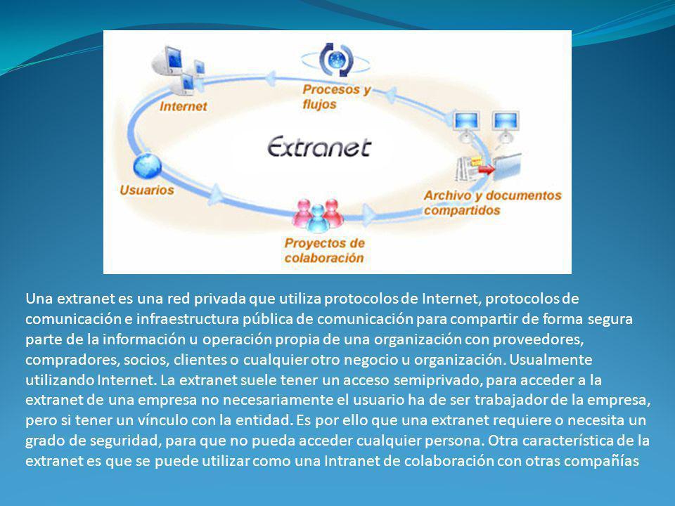 Una extranet es una red privada que utiliza protocolos de Internet, protocolos de comunicación e infraestructura pública de comunicación para comparti
