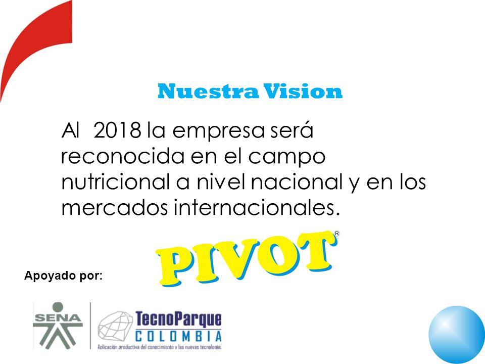 Nuestra Vision Al 2018 la empresa será reconocida en el campo nutricional a nivel nacional y en los mercados internacionales. Apoyado por: