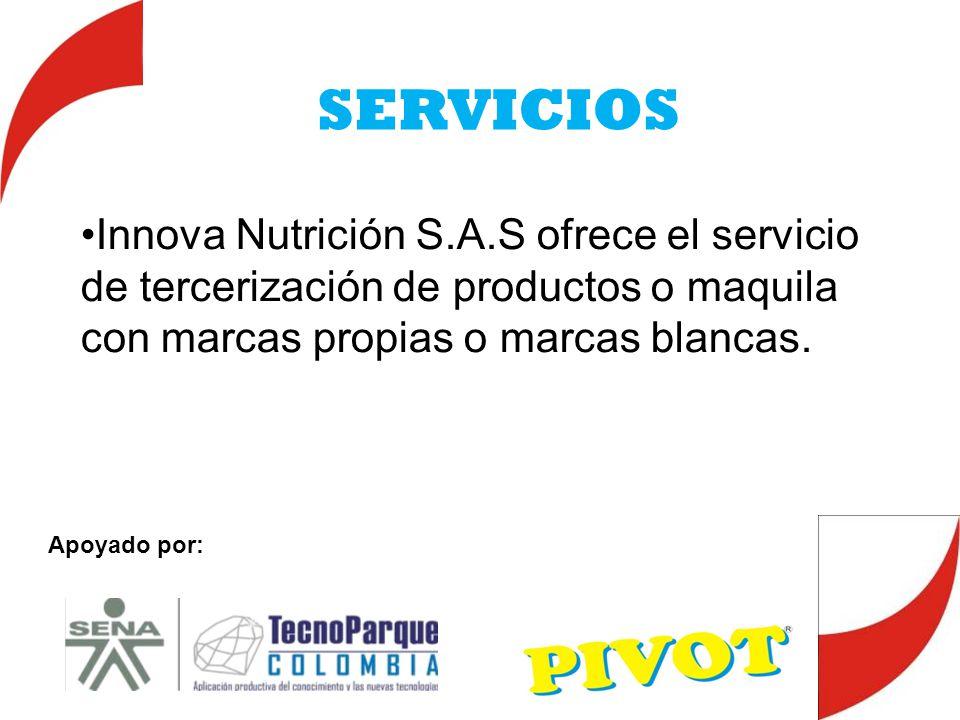 SERVICIOS Innova Nutrición S.A.S ofrece el servicio de tercerización de productos o maquila con marcas propias o marcas blancas. Apoyado por: