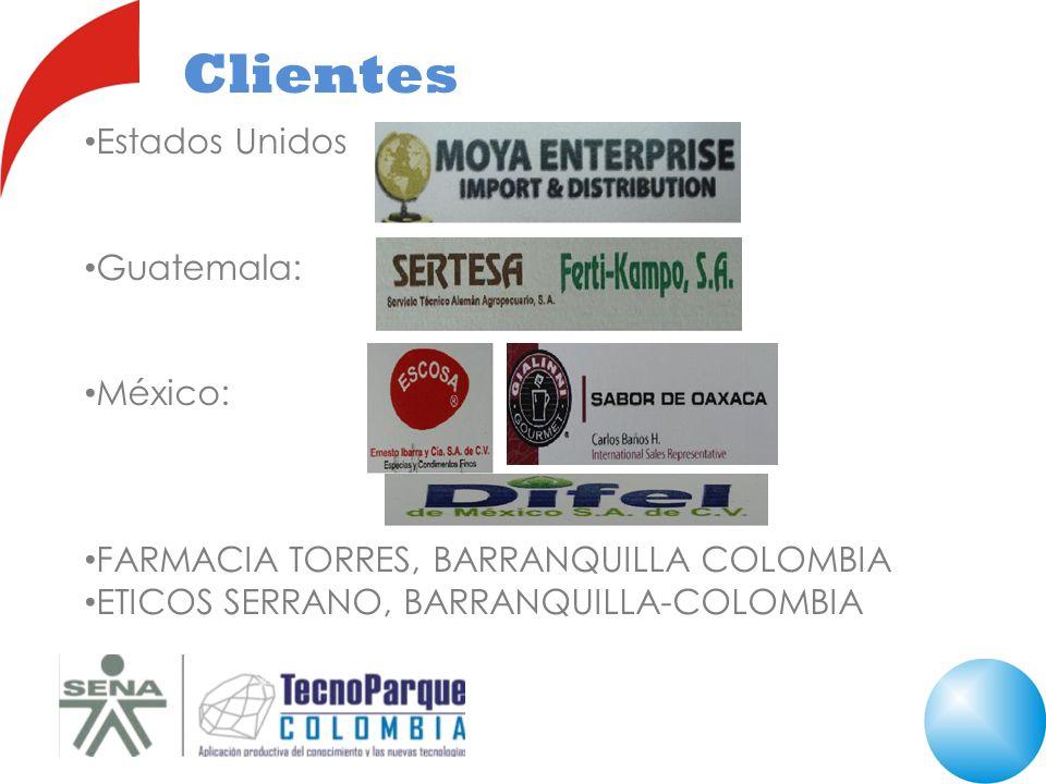 Clientes Estados Unidos Guatemala: México: FARMACIA TORRES, BARRANQUILLA COLOMBIA ETICOS SERRANO, BARRANQUILLA-COLOMBIA