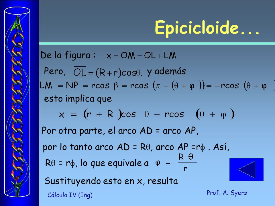 Prof.A. Syers Cálculo IV (Ing) Epicicloide...