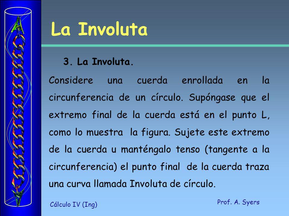 Prof. A. Syers Cálculo IV (Ing) 3. La Involuta. Considere una cuerda enrollada en la circunferencia de un círculo. Supóngase que el extremo final de l