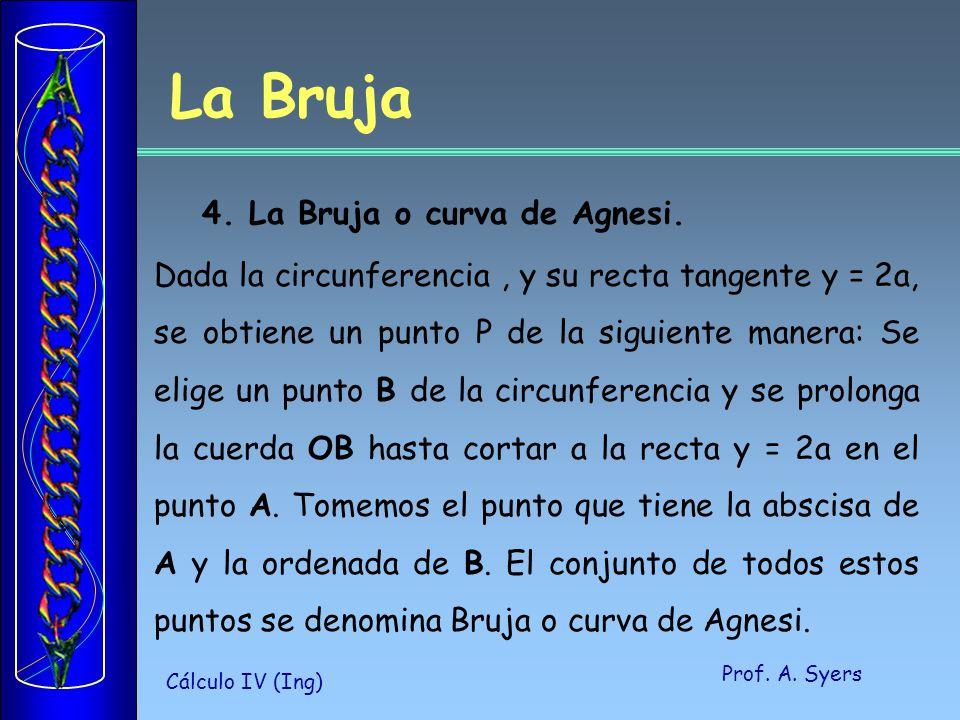 Prof. A. Syers Cálculo IV (Ing) 4. La Bruja o curva de Agnesi. Dada la circunferencia, y su recta tangente y = 2a, se obtiene un punto P de la siguien