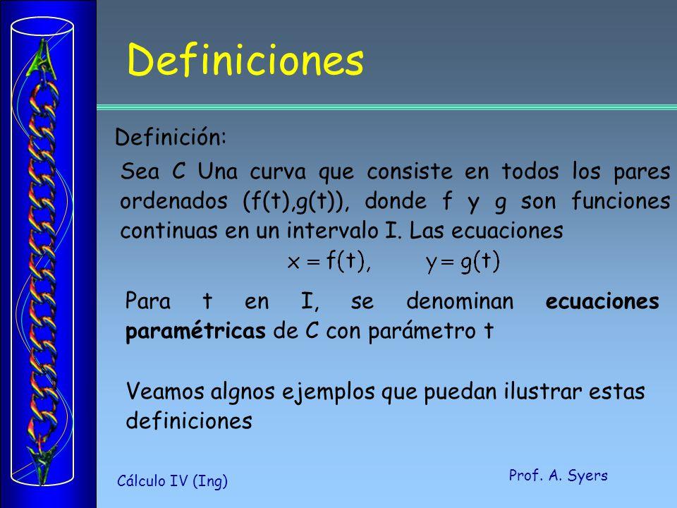 Prof. A. Syers Cálculo IV (Ing) Definiciones Definición: Sea C Una curva que consiste en todos los pares ordenados (f(t),g(t)), donde f y g son funcio