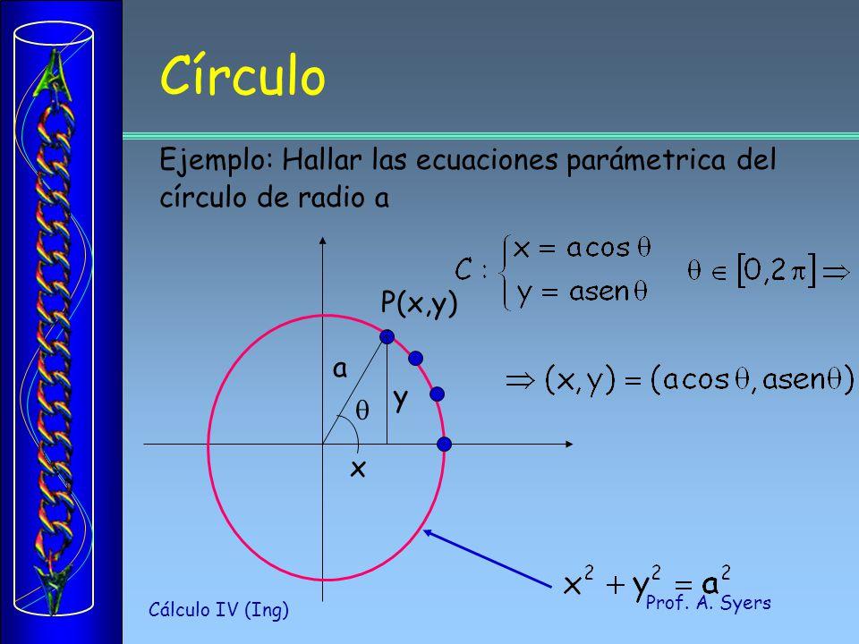 Prof. A. Syers Cálculo IV (Ing) Círculo P(x,y) a y x Ejemplo: Hallar las ecuaciones parámetrica del círculo de radio a