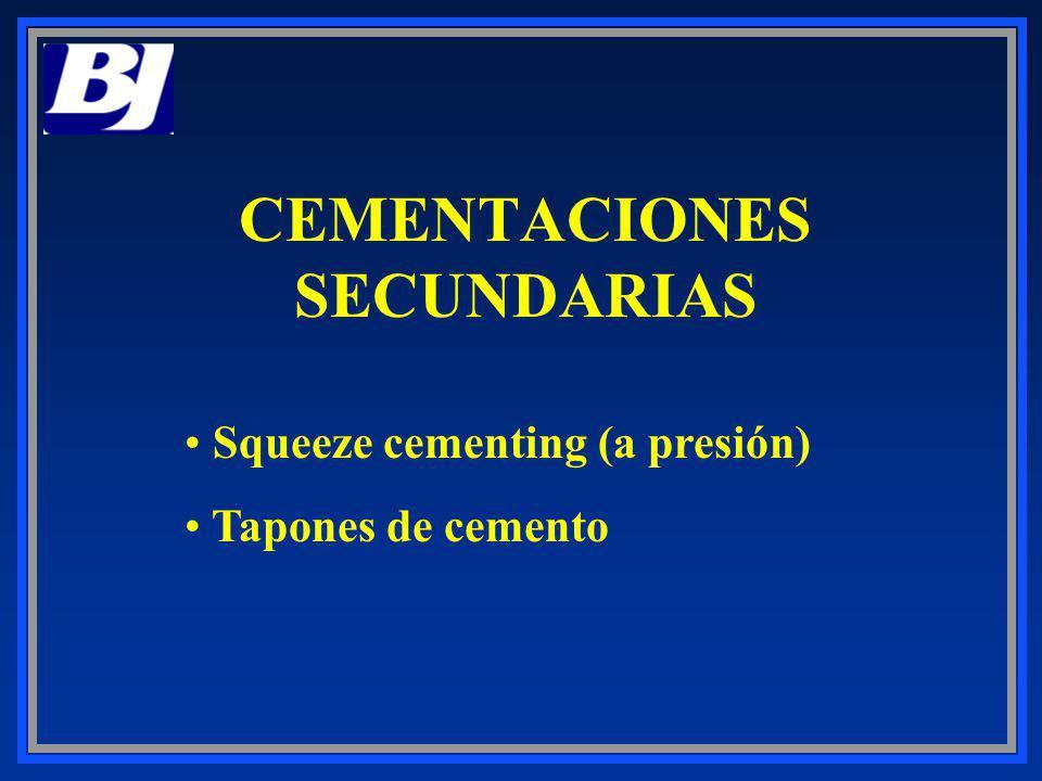 CEMENTACIONES SECUNDARIAS Squeeze cementing (a presión) Tapones de cemento