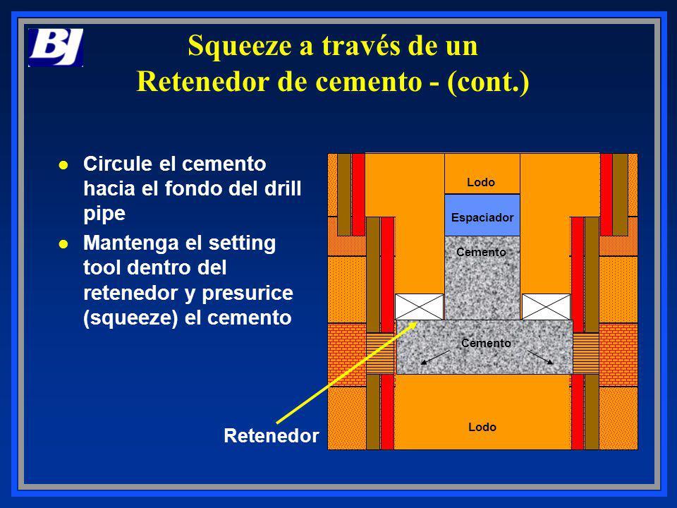 Retenedor l Circule el cemento hacia el fondo del drill pipe l Mantenga el setting tool dentro del retenedor y presurice (squeeze) el cemento Lodo Cem