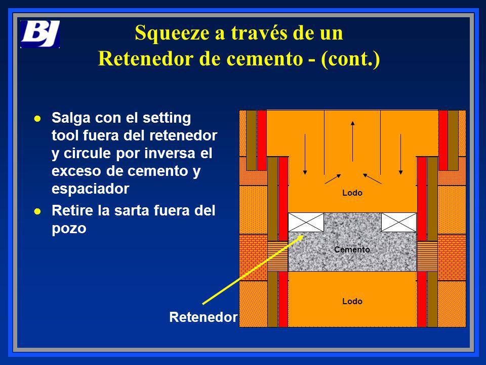 Lodo Cemento Retenedor l Salga con el setting tool fuera del retenedor y circule por inversa el exceso de cemento y espaciador l Retire la sarta fuera
