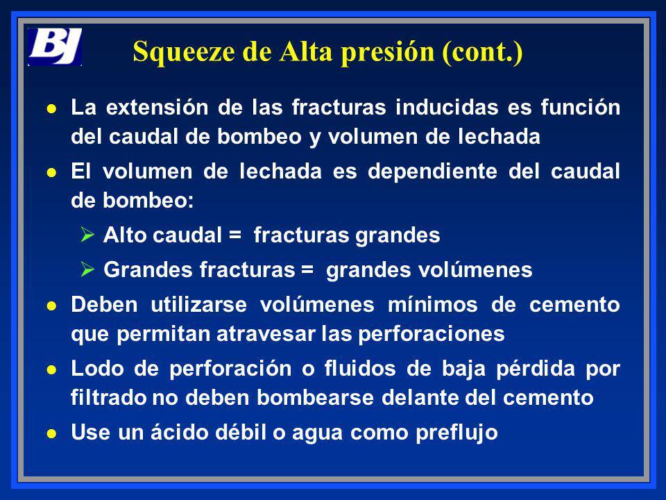 Squeeze de Alta presión (cont.) l La extensión de las fracturas inducidas es función del caudal de bombeo y volumen de lechada l El volumen de lechada