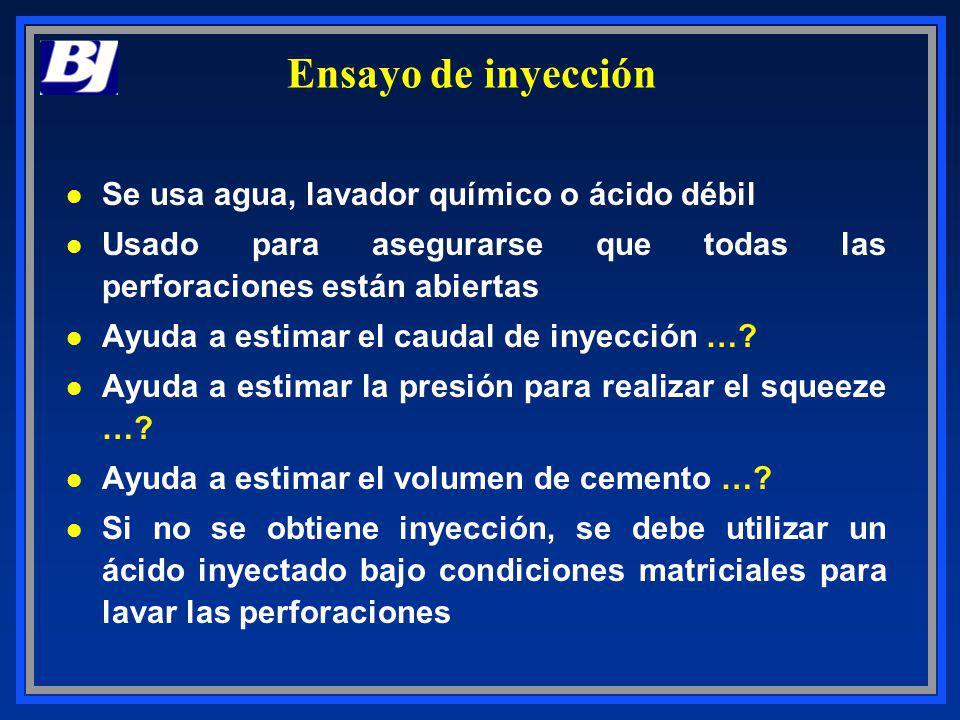 Ensayo de inyección l Se usa agua, lavador químico o ácido débil l Usado para asegurarse que todas las perforaciones están abiertas l Ayuda a estimar