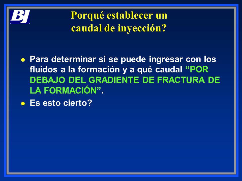 Porqué establecer un caudal de inyección? l Para determinar si se puede ingresar con los fluidos a la formación y a qué caudal POR DEBAJO DEL GRADIENT