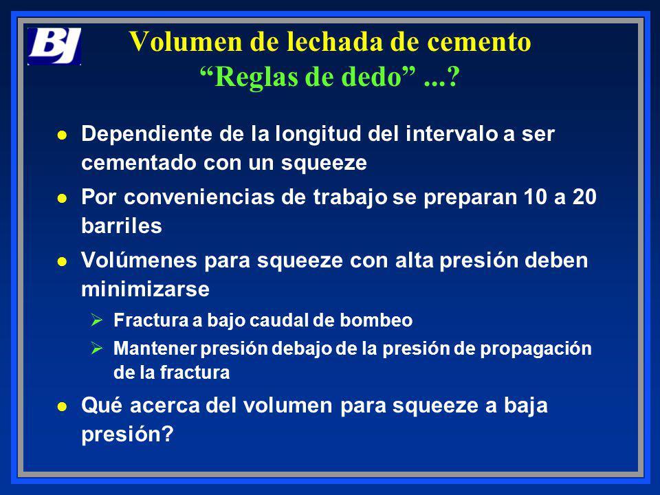 Volumen de lechada de cemento Reglas de dedo...? l Dependiente de la longitud del intervalo a ser cementado con un squeeze l Por conveniencias de trab