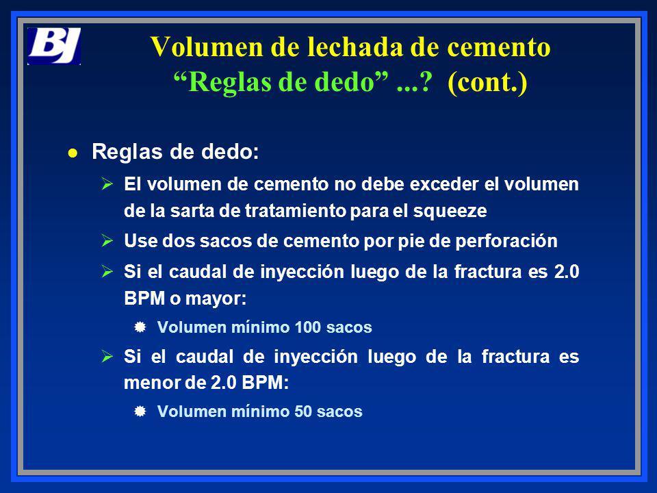 l Reglas de dedo: ØEl volumen de cemento no debe exceder el volumen de la sarta de tratamiento para el squeeze ØUse dos sacos de cemento por pie de pe
