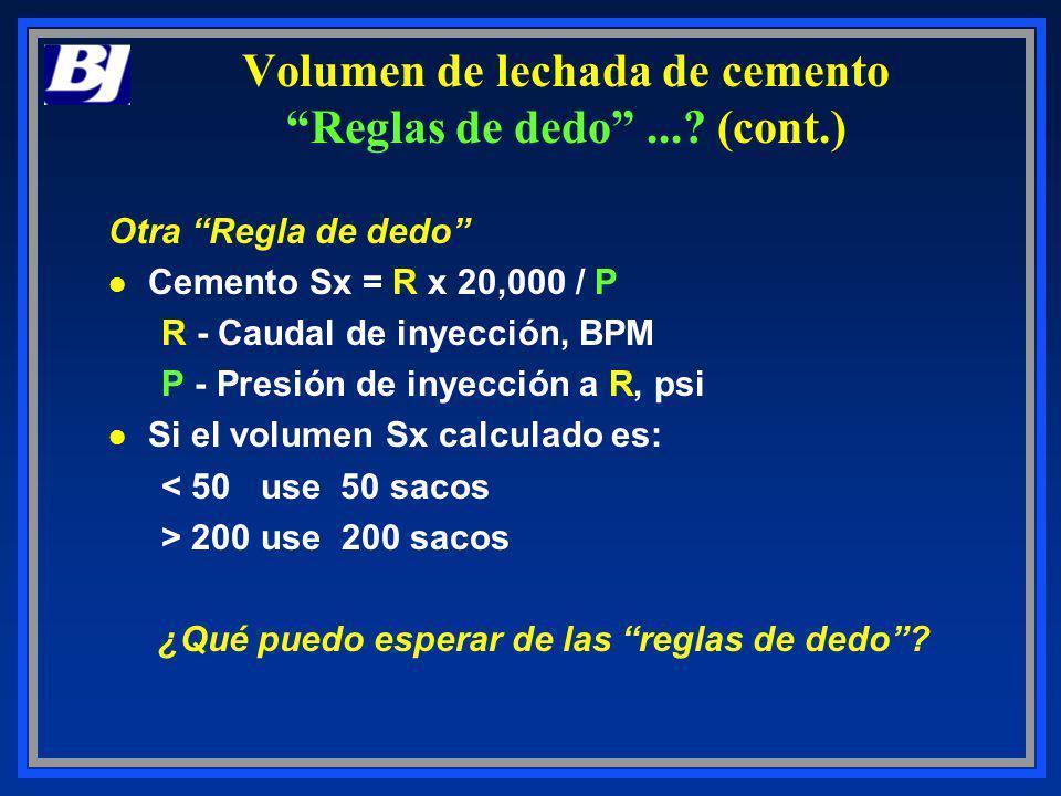 Otra Regla de dedo l Cemento Sx = R x 20,000 / P R - Caudal de inyección, BPM P - Presión de inyección a R, psi l Si el volumen Sx calculado es: < 50