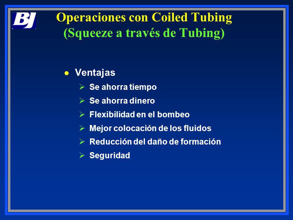 Operaciones con Coiled Tubing (Squeeze a través de Tubing) l Ventajas ØSe ahorra tiempo ØSe ahorra dinero ØFlexibilidad en el bombeo ØMejor colocación