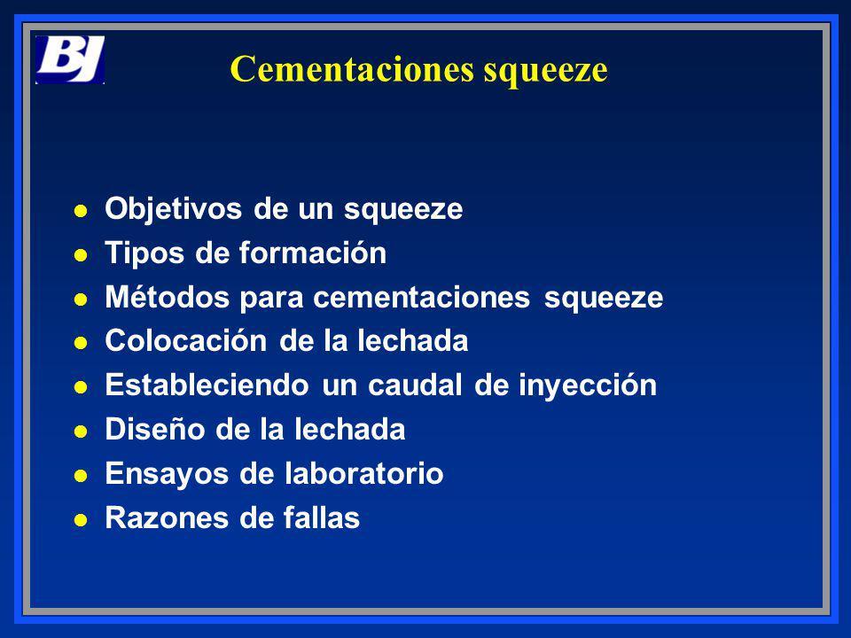 Cementaciones squeeze l Objetivos de un squeeze l Tipos de formación l Métodos para cementaciones squeeze l Colocación de la lechada l Estableciendo u