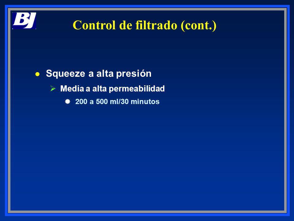 l Squeeze a alta presión ØMedia a alta permeabilidad ®200 a 500 ml/30 minutos Control de filtrado (cont.)