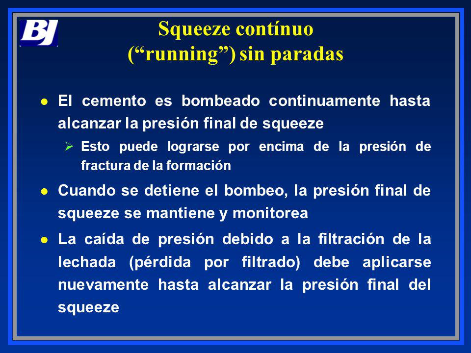Squeeze contínuo (running) sin paradas l El cemento es bombeado continuamente hasta alcanzar la presión final de squeeze ØEsto puede lograrse por enci