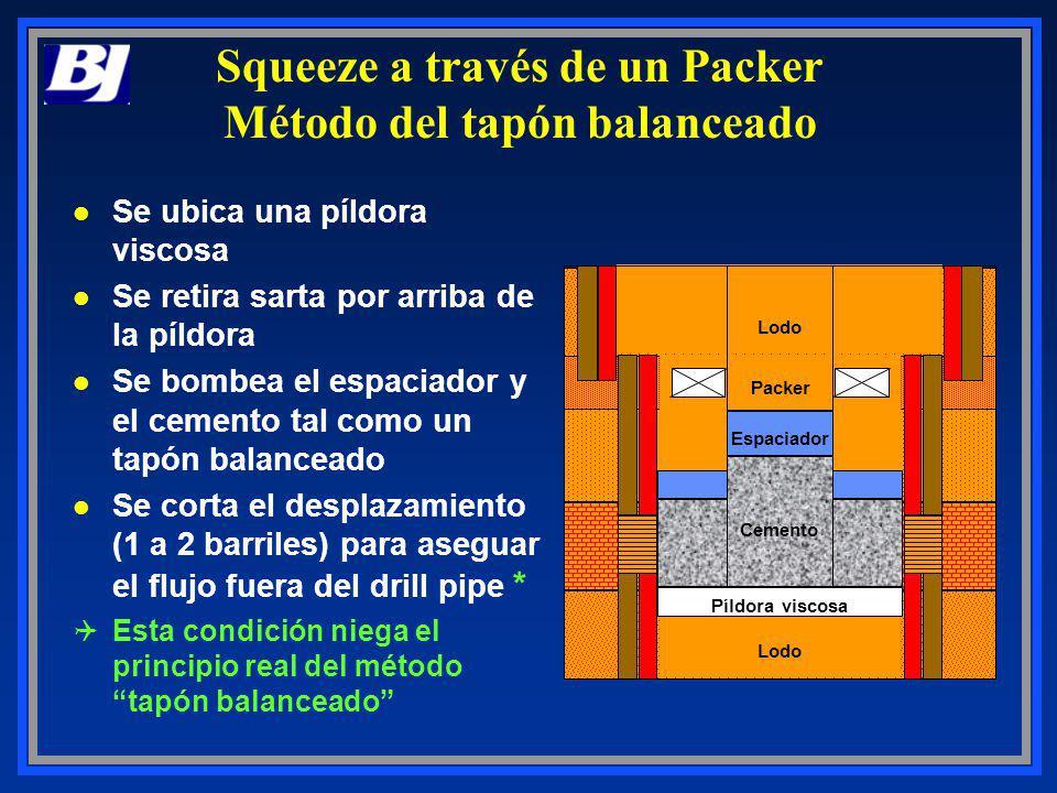 Viscous Pill Lodo Packer Espaciador Píldora viscosa Cemento Squeeze a través de un Packer Método del tapón balanceado l Se ubica una píldora viscosa l