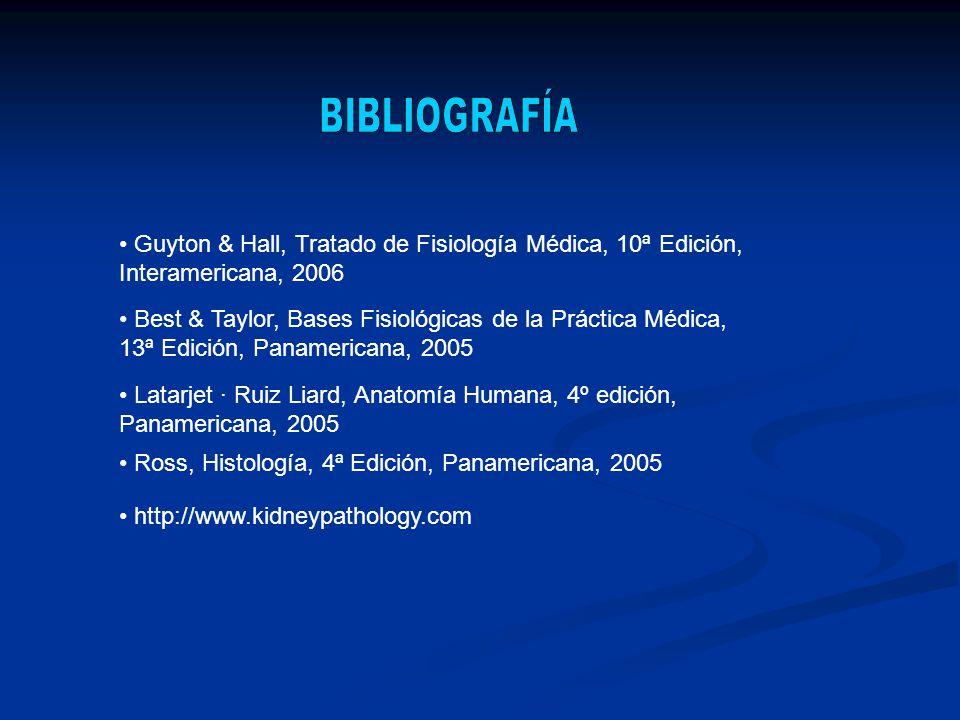Guyton & Hall, Tratado de Fisiología Médica, 10ª Edición, Interamericana, 2006 Best & Taylor, Bases Fisiológicas de la Práctica Médica, 13ª Edición, P