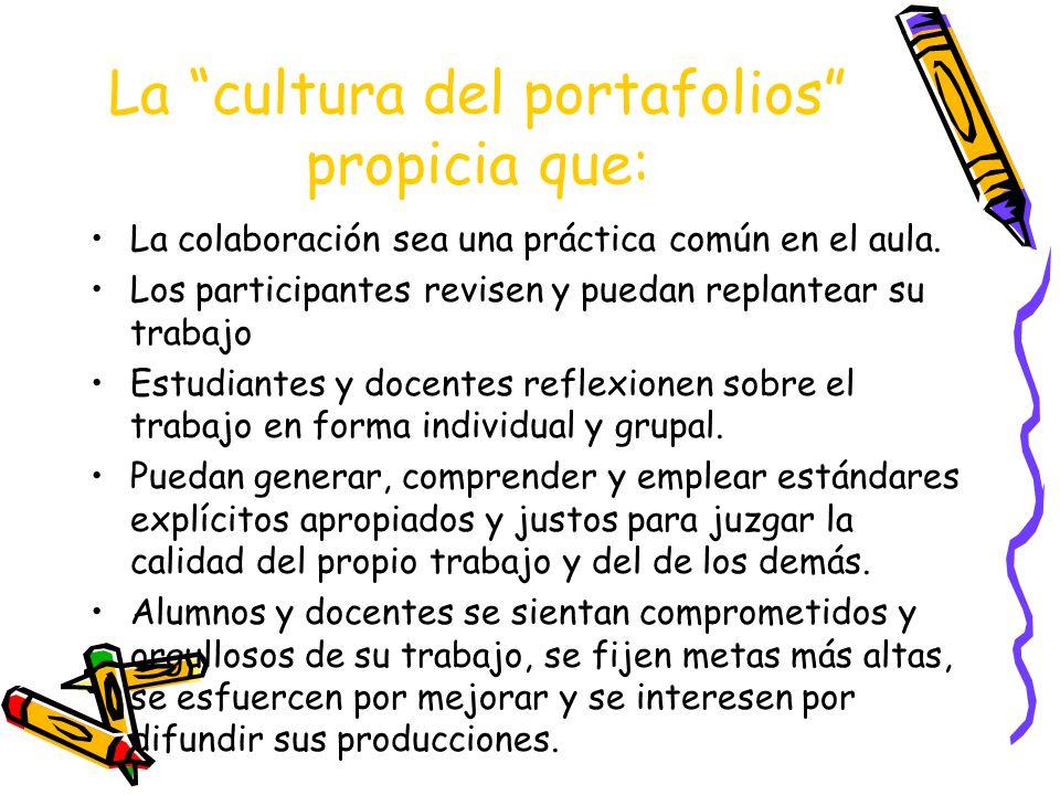 La cultura del portafolios propicia que: La colaboración sea una práctica común en el aula. Los participantes revisen y puedan replantear su trabajo E