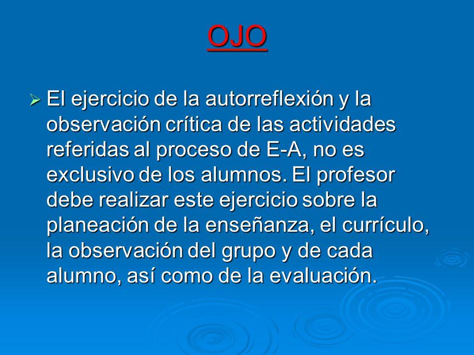 OJO El ejercicio de la autorreflexión y la observación crítica de las actividades referidas al proceso de E-A, no es exclusivo de los alumnos. El prof