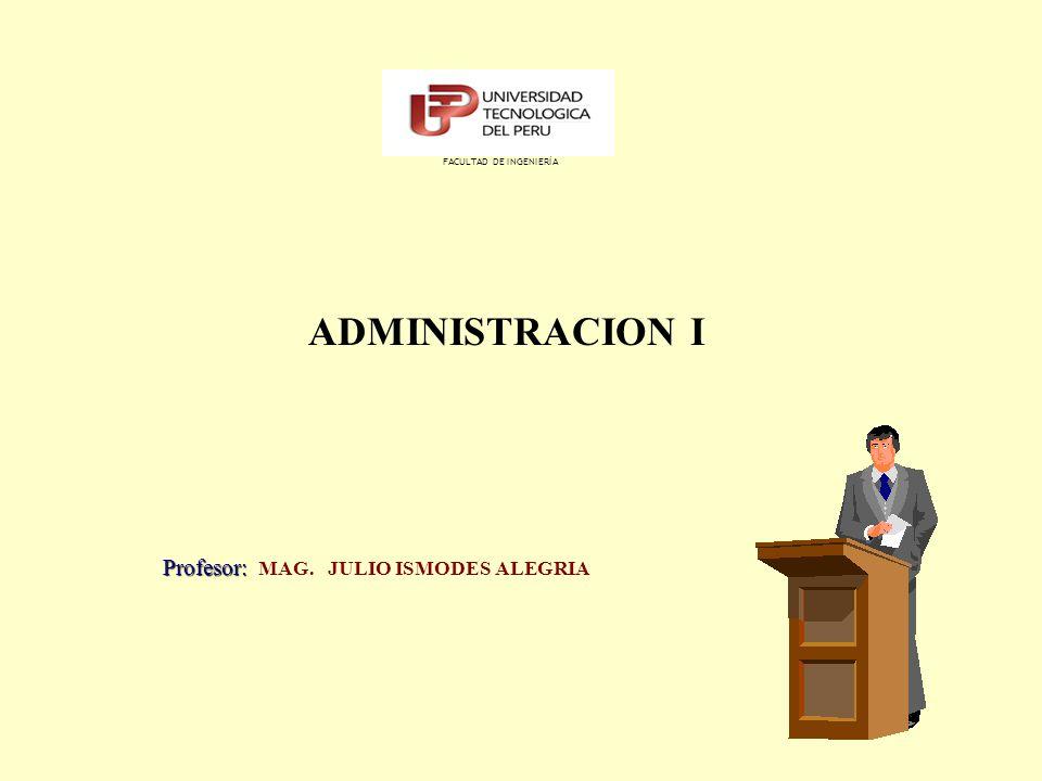 ADMINISTRACION I Profesor: Profesor: MAG. JULIO ISMODES ALEGRIA FACULTAD DE INGENIERÍA