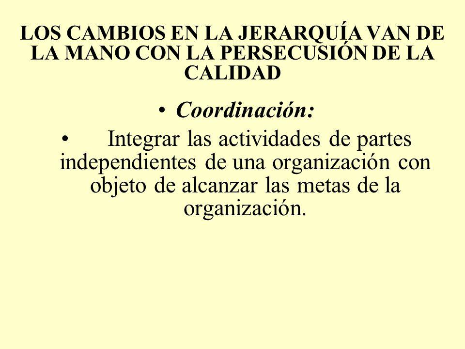 LOS CAMBIOS EN LA JERARQUÍA VAN DE LA MANO CON LA PERSECUSIÓN DE LA CALIDAD Coordinación: Integrar las actividades de partes independientes de una org