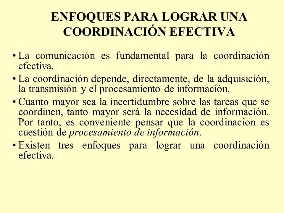 ENFOQUES PARA LOGRAR UNA COORDINACIÓN EFECTIVA La comunicación es fundamental para la coordinación efectiva. La coordinación depende, directamente, de