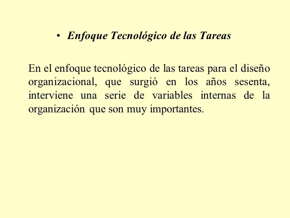 Enfoque Tecnológico de las Tareas En el enfoque tecnológico de las tareas para el diseño organizacional, que surgió en los años sesenta, interviene un