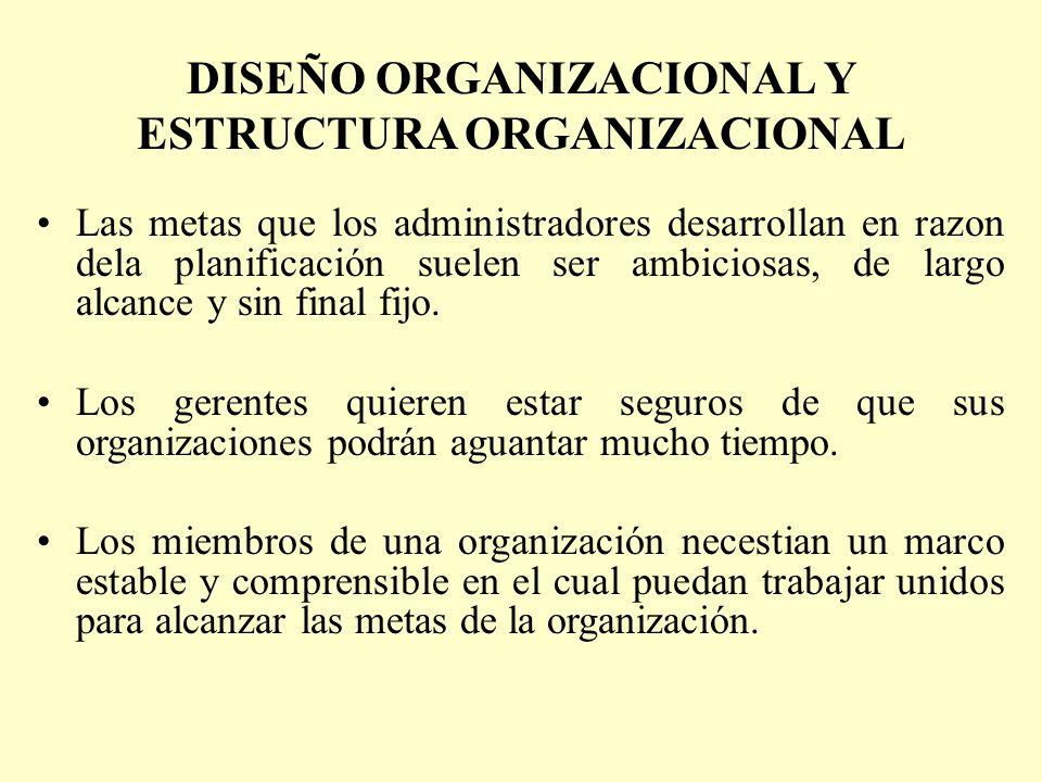 DISEÑO ORGANIZACIONAL Y ESTRUCTURA ORGANIZACIONAL Las metas que los administradores desarrollan en razon dela planificación suelen ser ambiciosas, de