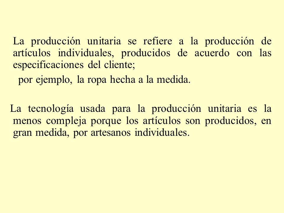 La producción unitaria se refiere a la producción de artículos individuales, producidos de acuerdo con las especificaciones del cliente; por ejemplo,