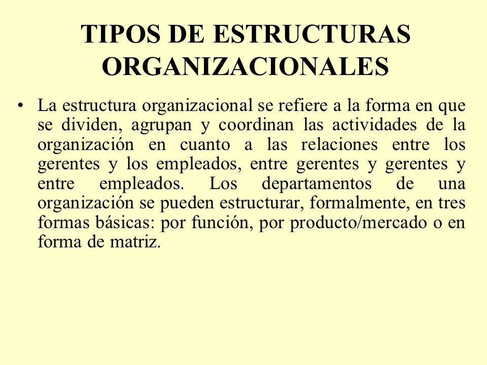 TIPOS DE ESTRUCTURAS ORGANIZACIONALES La estructura organizacional se refiere a la forma en que se dividen, agrupan y coordinan las actividades de la
