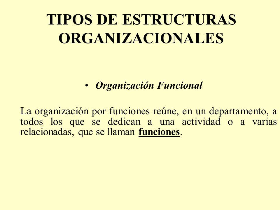 TIPOS DE ESTRUCTURAS ORGANIZACIONALES Organización Funcional La organización por funciones reúne, en un departamento, a todos los que se dedican a una