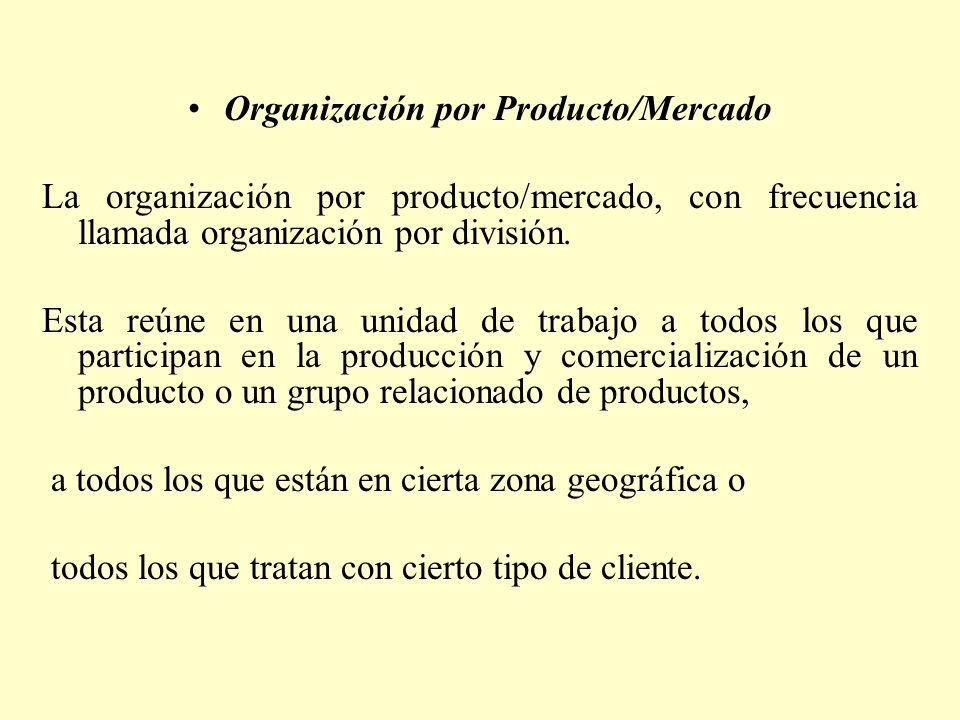Organización por Producto/Mercado La organización por producto/mercado, con frecuencia llamada organización por división. Esta reúne en una unidad de
