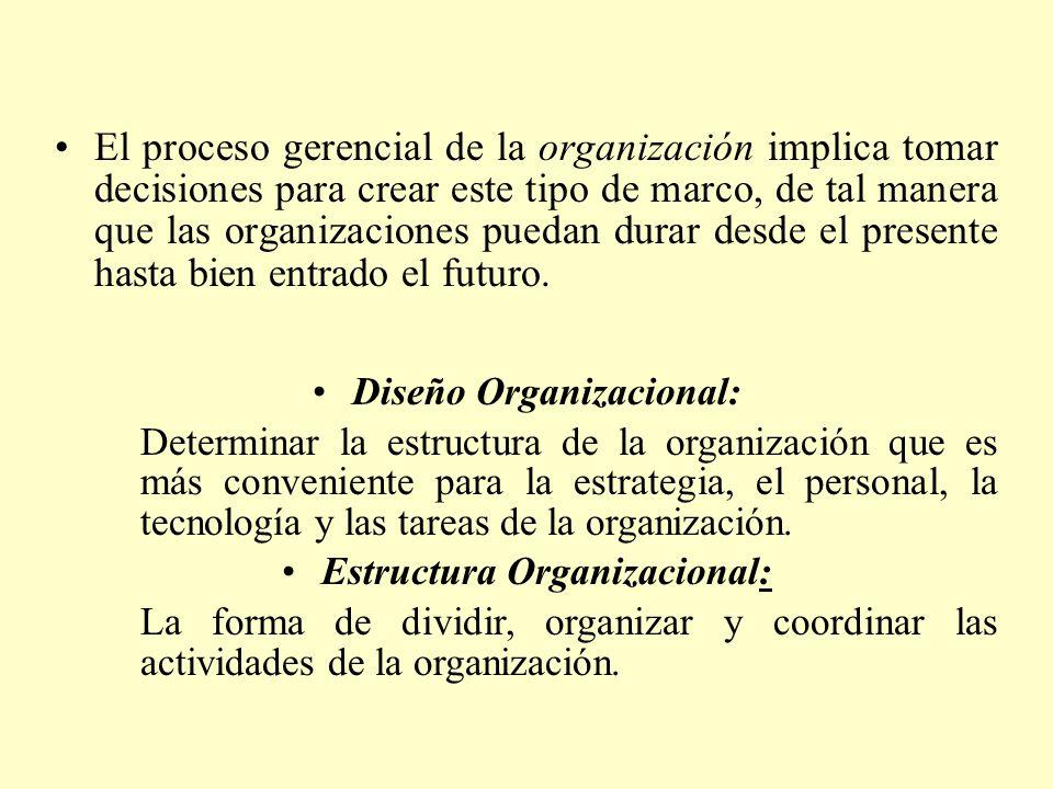 El proceso gerencial de la organización implica tomar decisiones para crear este tipo de marco, de tal manera que las organizaciones puedan durar desd