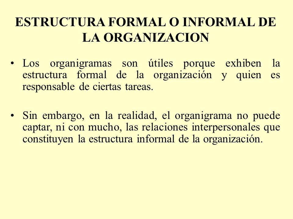 ESTRUCTURA FORMAL O INFORMAL DE LA ORGANIZACION Los organigramas son útiles porque exhiben la estructura formal de la organización y quien es responsa