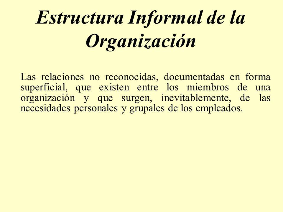 Estructura Informal de la Organización Las relaciones no reconocidas, documentadas en forma superficial, que existen entre los miembros de una organiz