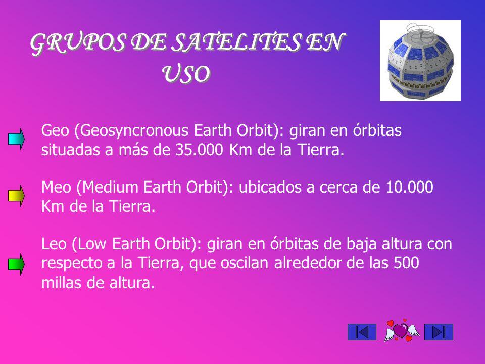 Geo (Geosyncronous Earth Orbit): giran en órbitas situadas a más de 35.000 Km de la Tierra. GRUPOS DE SATELITES EN USO Meo (Medium Earth Orbit): ubica
