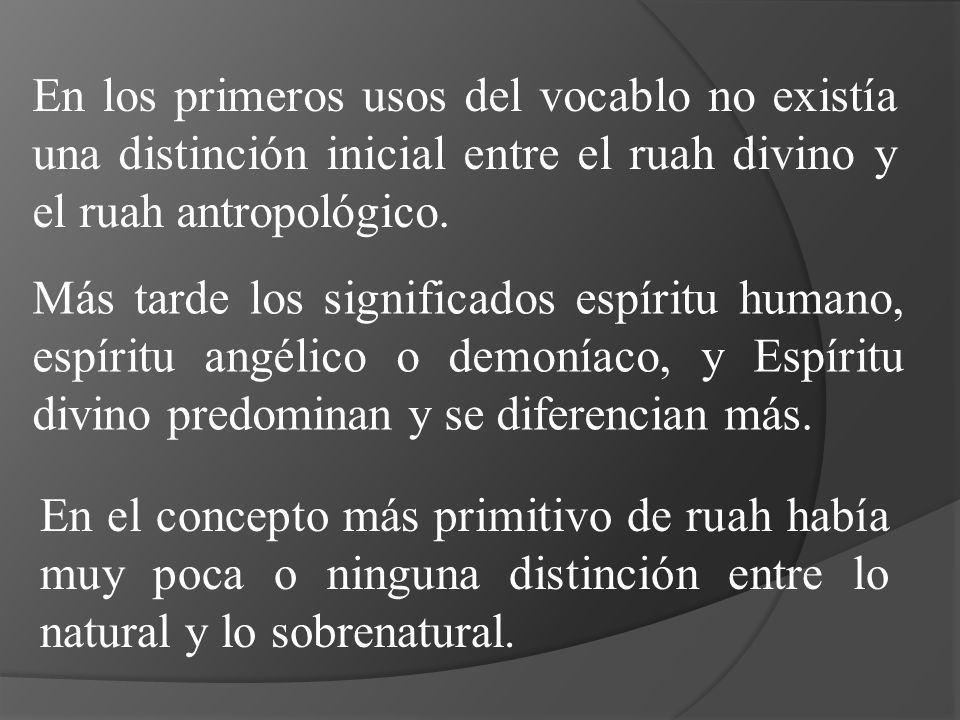 En los primeros usos del vocablo no existía una distinción inicial entre el ruah divino y el ruah antropológico. Más tarde los significados espíritu h