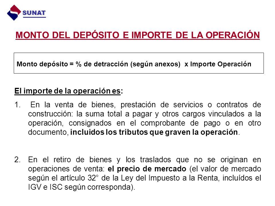 MONTO DEL DEPÓSITO E IMPORTE DE LA OPERACIÓN El importe de la operación es: 1. En la venta de bienes, prestación de servicios o contratos de construcc