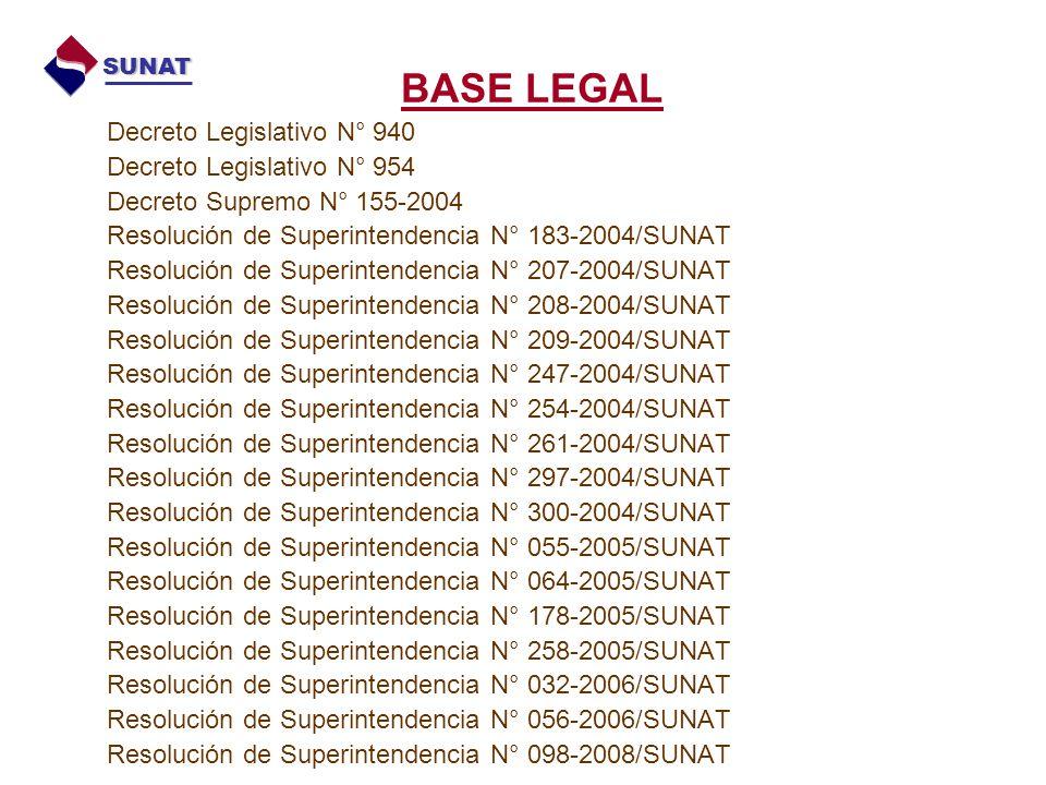 Decreto Legislativo N° 940 Decreto Legislativo N° 954 Decreto Supremo N° 155-2004 Resolución de Superintendencia N° 183-2004/SUNAT Resolución de Super